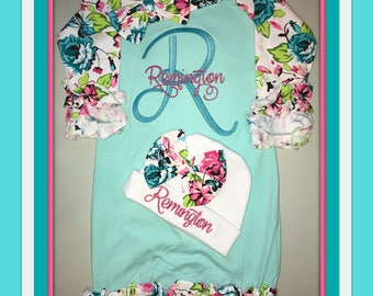 Personalized, baby gown, Monogram, Initial, Name, Saying, Newborn, Baby girl, coming home outfit, bring home outfit, take home outfit, set