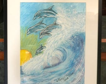 Dolphins Jumping The Waves Watercolor Print 9 X 12 by Kathy Marrs Chandler