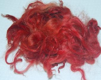 Karakul Sheep Wool Locks for Spinning Felting and Doll Hair, Doll Wig, Hand Dyed shades of Light to Dark Russet, Irish Red 1 oz.