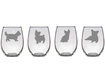 Set of 2 or 4 Yorkshire Terrier Wine Glasses,4 Dog Poses, Etched Yorkie Wine Glasses,Yorkie Lover Gift,Yorkie Barware,Yorkie Glasses,Yorkies