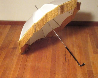 Vintage White Silk Parasol w/Gold Fringe And Unusual B&W Carved Stone Handle