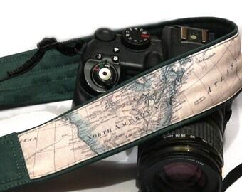 World Map Camera Strap. Photo camera Accessories. SLR, DSLR Camera Strap. Gift For Photographer.
