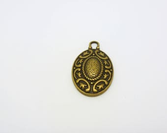 1 oval Locket pendant crafted ethnic bronze 33 * 20mm (CLBB09)