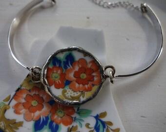 Orange flower bracelet- broken china jewelry- broken china bracelet- flower bracelet- vintage china bracelet-unique bracelet