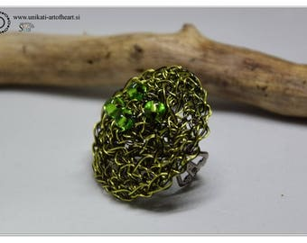 Wire Crochet Ring / Green & Black Ring / Statement Ring / Unique Crochet Jewelry / Crochet Wire Jewelry / Unique Ring / Wire Ring / Gift