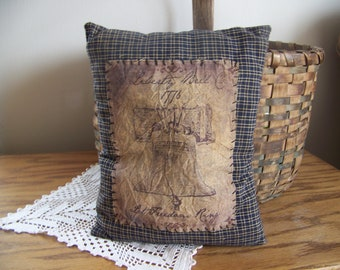 Primitive Americana Blue Homespun Pillow With Libery Bell Logo