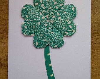 Four leaf clover, good luck greetings card.
