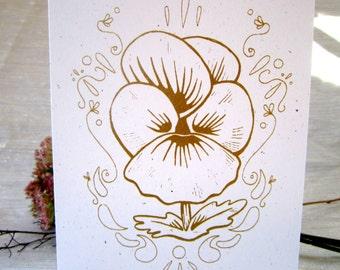 Metallic Pansy Single Blank Greeting Card