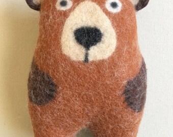 Cozy Brown Bear, wet felted stuffed animal, handmade, soft art toy, soft sculpture, eco friendly home or nursery decor