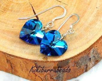 Swarovski Crystal Heart Earrings,Bermuda Blue Heart Earrings,Crystal Earrings,Sterling Silver