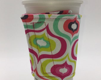Pink Coffee Cup Cozy, Coffee Cup Sleeve, Cup Cozy, Cup Sleeve, Reusable Coffee Sleeve