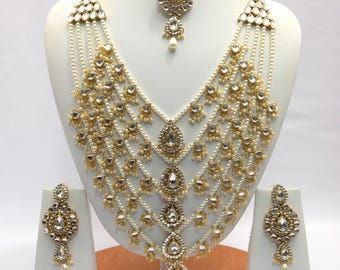 Handmade Indian Jewelry Rani Haar Necklace Set With Pearl imitation Czech Gold Plated indian Jewellery Bollywood jewelry