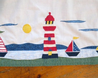Nautical themed Curtain Set, Boys Room, Cabin Decor, Two Curtain Panels, Beach Decor, Boys Room, by mailordervintage on etsy