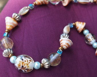 Seashell Necklace set,Shell Necklace Set, Beach Jewelry,Pearl Necklaces,Orange & Blue Jewelry,Natural Jewelry,Resort Jewlery,#100