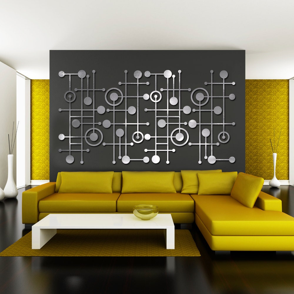 MOD Dots 3 Quad in Textured Aluminum Extra Large Wall Art