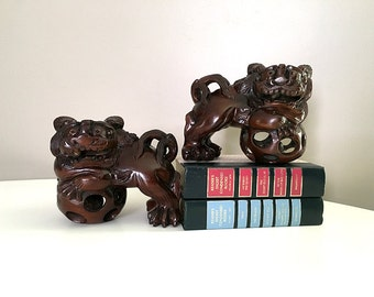 Authentic Vintage Chinese Hand Carved Wood Foo Dogs / Chinese Foo Dogs / Foo Dog Figurines / Asian Wood Carving / Hollywood Regency Decor