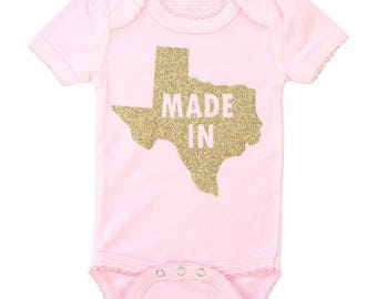 Made In Texas   Pink BodySuit with Gold Glitter
