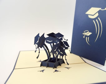 Graduation Hat Pop Up Card - 3D Handmade Card - Pop Up Congratulation Card - Graduation Card - Encouragement Card - Pop Up Graduation Hat