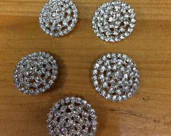 Set of rhinestone buttons 5pieces