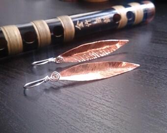 Hammered copper leaf earrings
