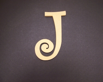 """16"""" Unfinished Wooden Letters, Curlz font, 1/2"""" thick w/Key Hole, Ready to Paint, Made in USA 16CZ50     -4"""