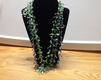 Vintage Blue and Green Beaded Multi Strand Necklace, Length 27''