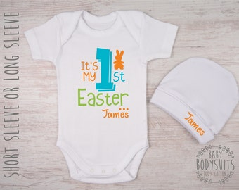 Easter Baby Outfit, First Easter Outfit, It's My First Easter Personalized Baby Bodysuit & Hat Set, Newborn Easter Outfit