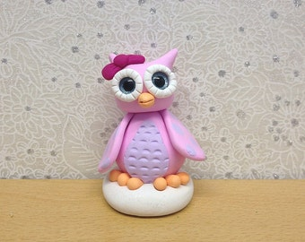 Handcrafted Polymer Clay Miniature Owl Sculpture - Amaya