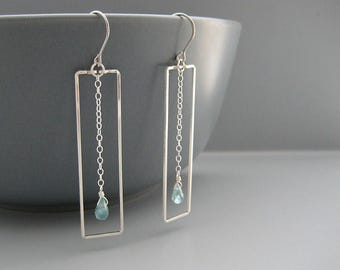 Rectangle Earrings with Small Blue Apatite Drop - Silver Geometric Christian jewelry, spiritual gift