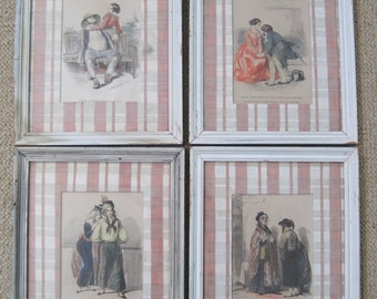 French Framed Hand Colored Prints Set Of Four 4 French Couples French Quotes Distressed Frames