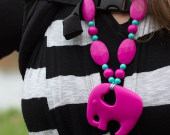 Chompy Silicone Elephant Teething Necklace