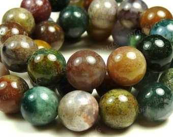 10mm Fancy Jasper Smooth Round Natural Gemstone Beads - 19pcs - Multicolor Beads - BC27