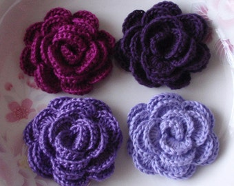 4 Crochet  Flowers Roses In 2 inches YH -138-03