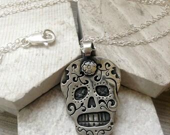 Sugar Skull Necklace in Sterling Silver or Copper or Bronze Dia De Los Muertos Necklace