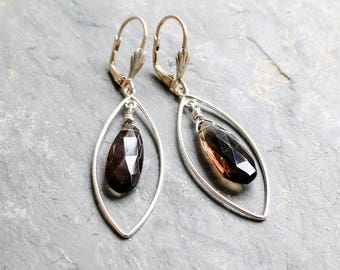Smoky Quartz Silver Drop Earrings  Faceted Gemstone Sterling Silver Dangle Earrings  Smokey Quartz Long Silver Earrings Gift for Woman