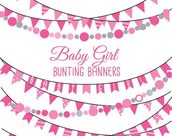 Baby Girl bunting banners digital Clip art