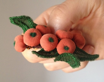 Little Branch. Orange Espino Bush Berries. Brooch. Woodland Fantasy Nature.