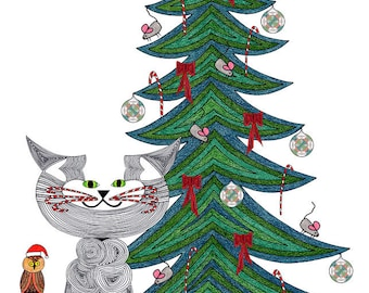 Cat Tail- Christmas Card- Cat Art Card- Cat Illustration- Cat Lover- Crazy Cat Lady- Dat Drawing- On the Sixth Day of Christmas by beckyzimm