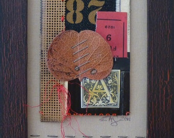28-Framed Mixed Media art collage on paper
