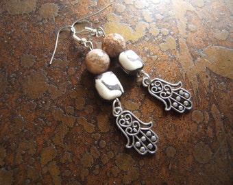 Earthy Hamsa Agate and Batik Bone Beaded Dangle earrings