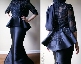Lace & Pearl Long Sleeve Peplum Evening Gown