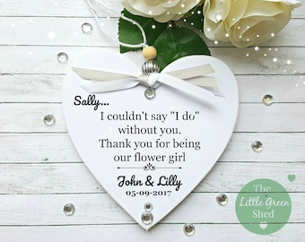 Flower Girl Bridesmaid Gift Personalised Plaque Hanging Heart