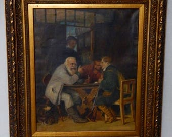 Sale Antique Dutch Oil Painting Hunters Interior Scene O/C European Art Gold Baroque Frame