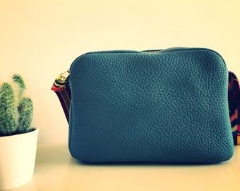 Leather bag, small leather bag, blue leather bag, messenger leather bag
