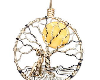 Bast Bastet Ba Aset Ubasti Pasch Egyptian Goddess of Cats Protection Wire Wrapped Tree of Life Pendant