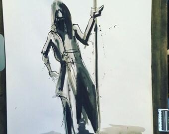 Way of the Blade -  24 x 18 Original