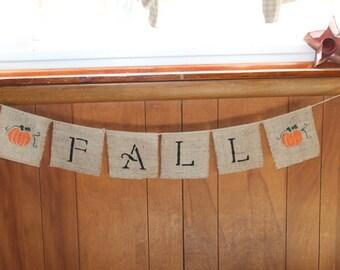 FALL PUMPKINS~ Burlap Banner/Garland ~ Thanksgiving Fall Autumn Holiday Decoration