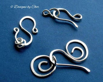 Handmade  Clasp Sampler, 18ga Fine Silver Artistic Wire, Three Styles and Sizes MTO Jewelry Findings