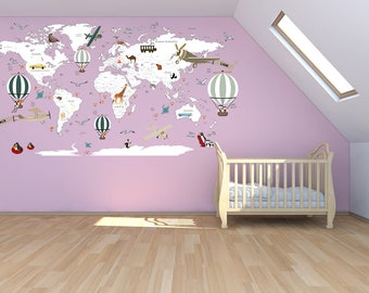airplane world map decal clear vinyl decal boys room decals world map mural