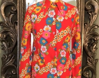 Vintage 60's/70's Psychedelic Floral Shirt/ Mini Dress Uk Size 12, US Size 8. Bold Floral Print, Long Pointed Collar, Button through front.